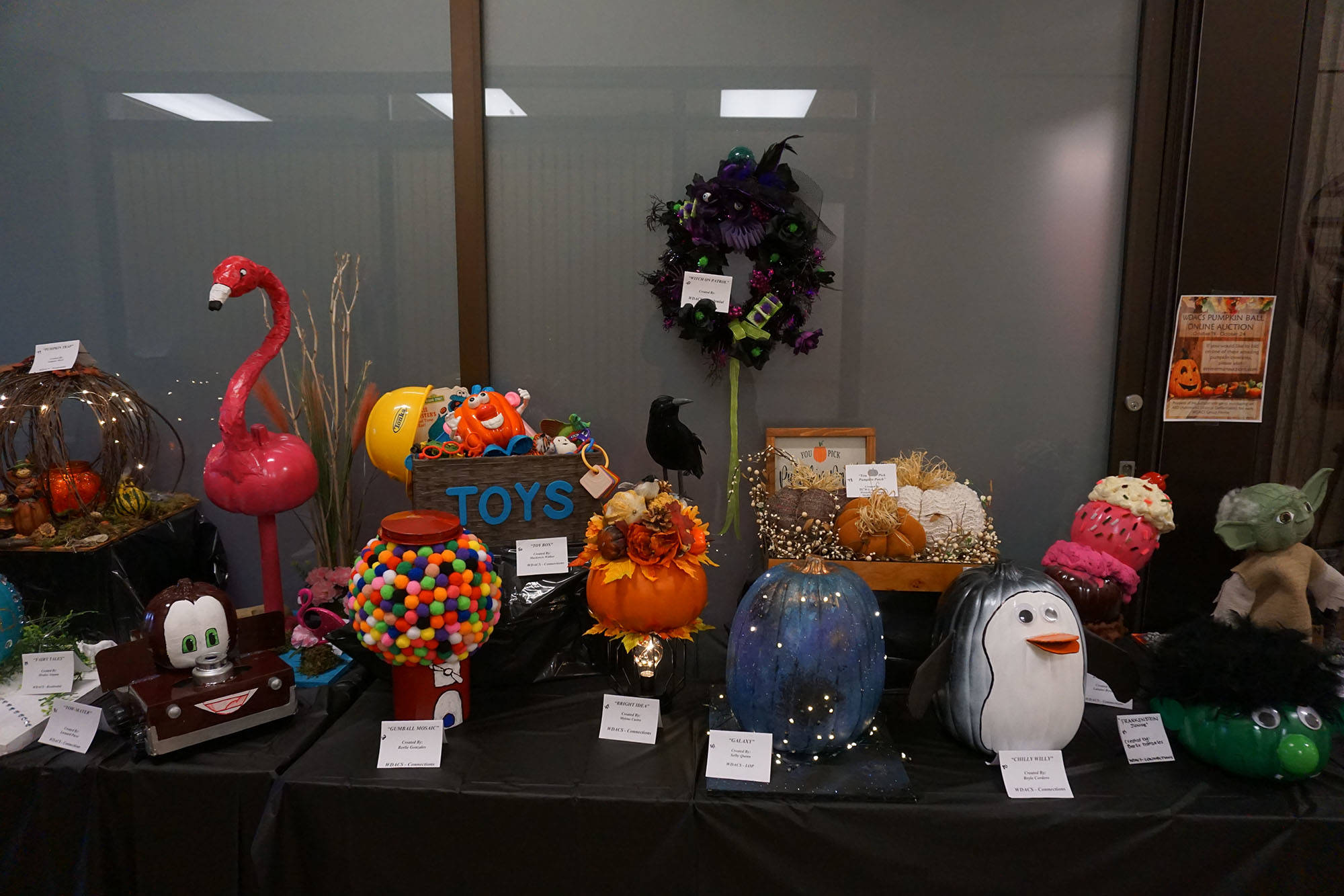 Pumpkins for the 46th Annual WDACS Pumpkin Ball on display at Vision Credit Union Wetaskiwin. Shaela Dansereau/ Pipestone Flyer.